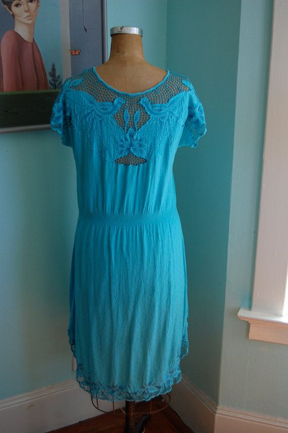 Vintage Turquoise Mexicanstyle Embroidered by winsomeandwayward, $25.00