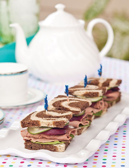 These Roast Beef, Spinach, Cucumber, and Beet Tea Sandwiches are a special treat.