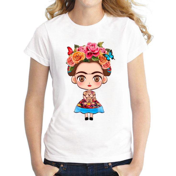 Women Short Sleeve Cartoon Mexican Frida Kahlo Shirt Printed Casual Fashion New #Unbranded #Fashion
