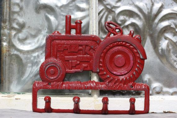 Red Tractor hook rack/ distressed shabby by MichelleLisaTreasure, $19.00. Could be spray painted