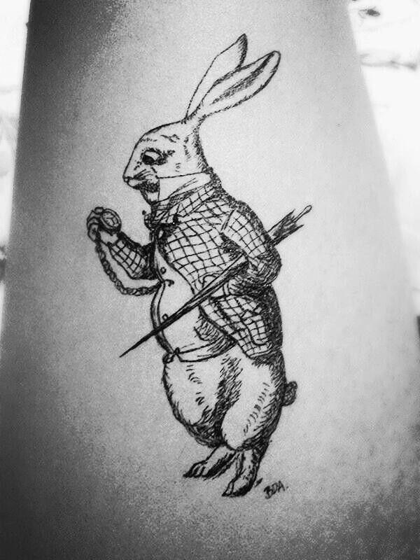 Self tattoo #aliceinwonderlands #rabbit #tattoo #inkpen