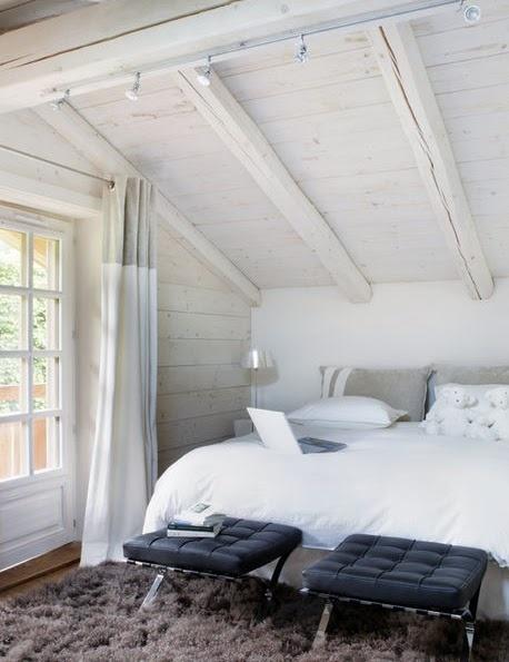 attic bedroomModern Farmhouse, Mountain Retreat, Winter Cabin, Attic Bedrooms, Loft Bedrooms, Bedrooms Design, White Mountain, White Bedrooms, Neutral Bedrooms