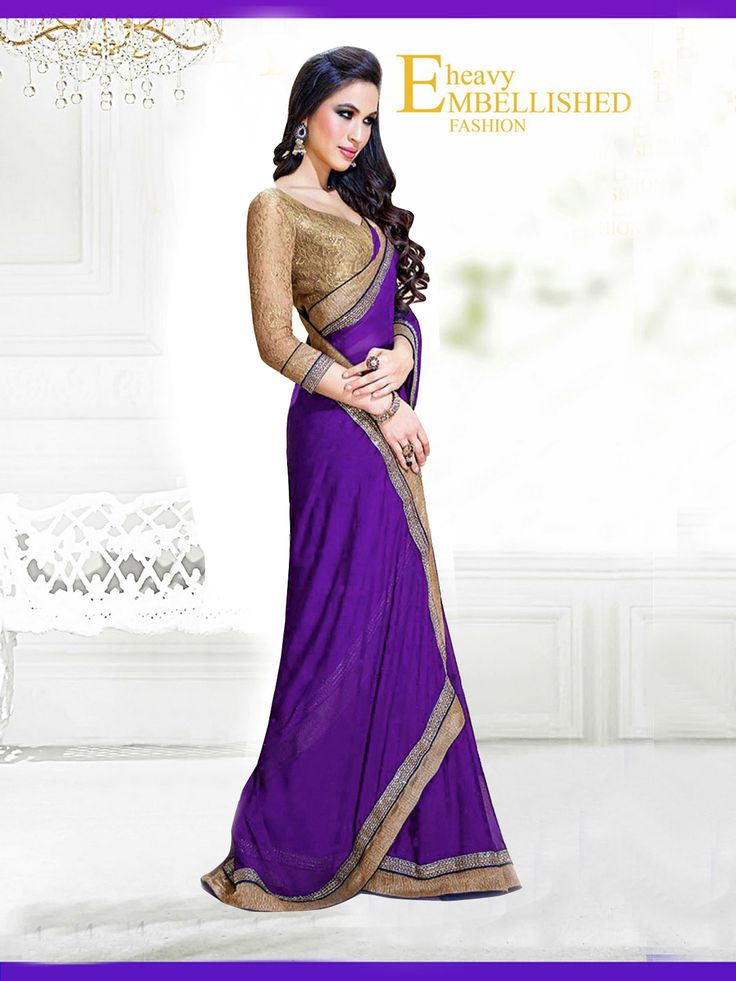 Fabric/Material:- #Saree : Dhupian|Blouse: #Chiffon | Pattern: #Printed Color: #Purple Size : Saree: 5.50Mtr. | Blouse: .80Mtr. | Price: 615/- #SuratTex