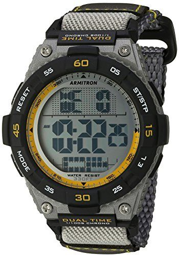Armitron Sport Mens 408330GRY Yellow Accented Digital Chronograph Grey Nylon Strap Watch >>> Learn more by visiting the image link.Note:It is affiliate link to Amazon.