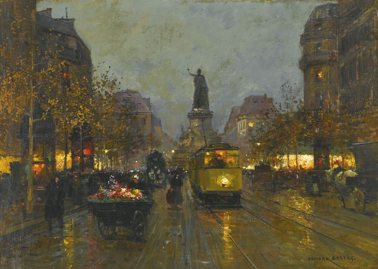 Edouard Cortès 1882 - 1969 FRENCH PLACE DE LA REPUBLIQUE, PARIS signed EDOUARD CORTÉS. lower right oil on canvas 33 by 46cm., 13 by 18in.: