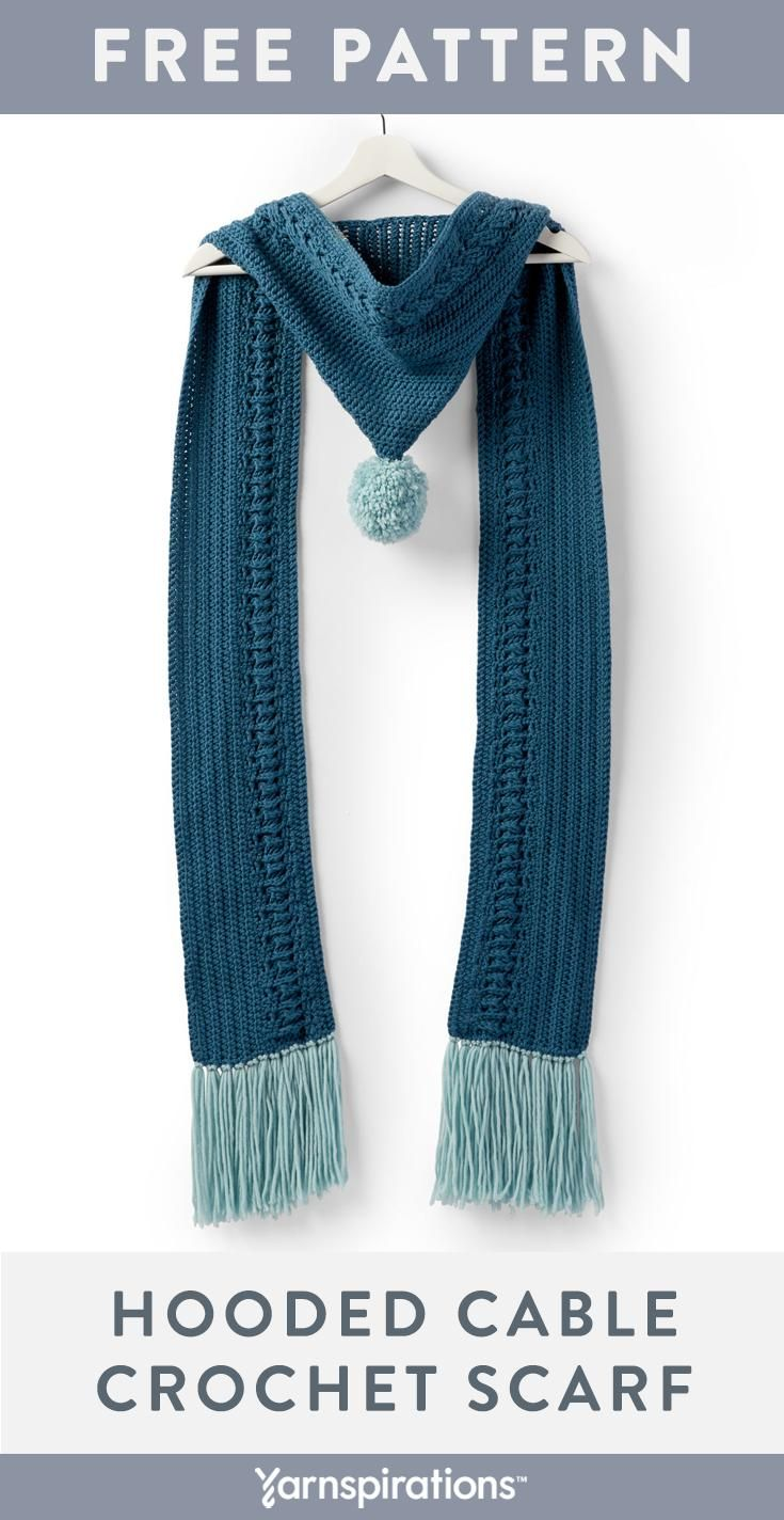 Make a cozy hooded scarf for winter. A crochet cable design runs along one side …