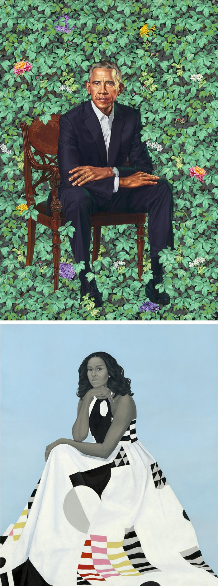 Official Portraits of President Barack Obama and First Lady Michelle Obama by Kehinde Wiley and Amy Sherald