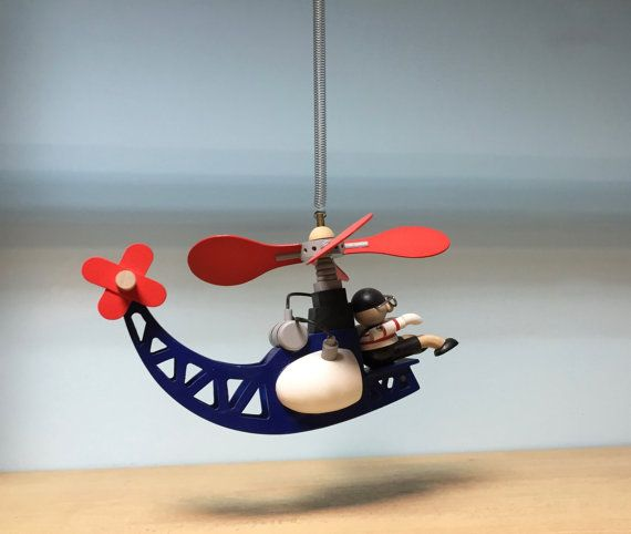Wooden hanging mobile helicopter with pilot manwooden