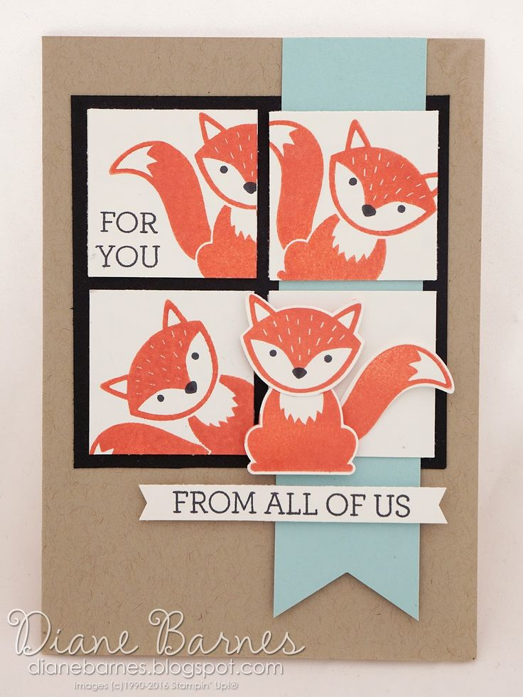 fox birthday card using Stampin Up Foxy Friends stamp & punch & Crazy About You. By Di Barnes #colourmehappy 2016 annual catalogue