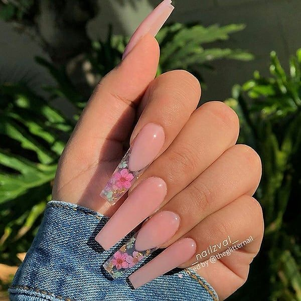 Theglitternail Get Inspired On Instagram Flower French 1 2 3 4 Or 5 Please Swi Pink Acrylic Nails Coffin Nails Designs Aycrlic Nails