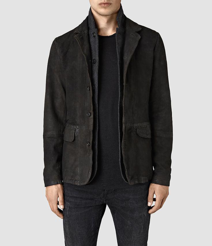 Mens Survey Leather Blazer (ANTHRACITE GREY) - product_image_alt_text_1