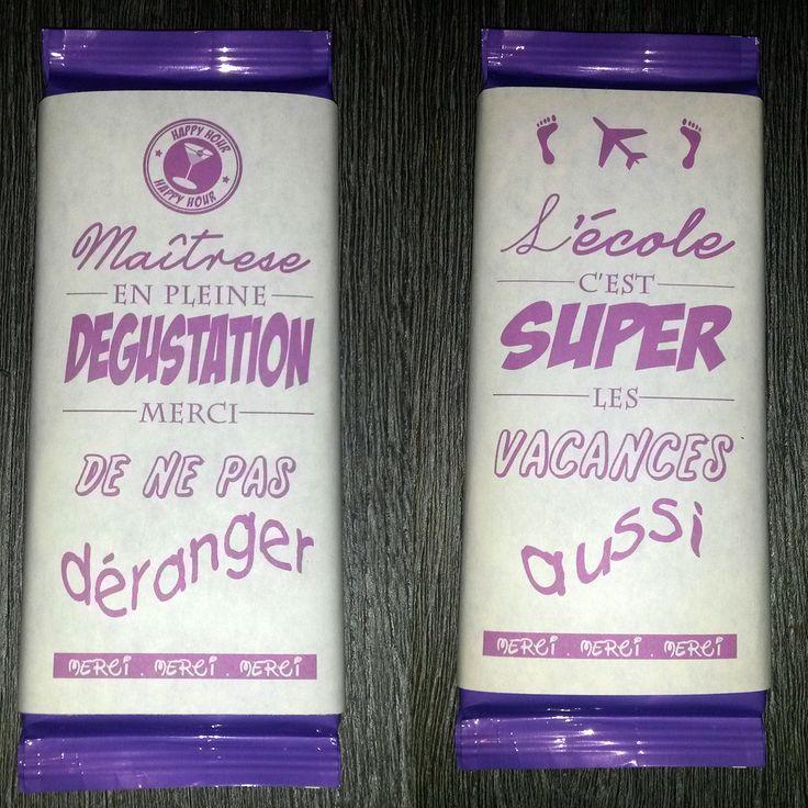 Emballages Chocolat pour Maîtresse en vacances : Cadeau de remerciement par creerpourvous
