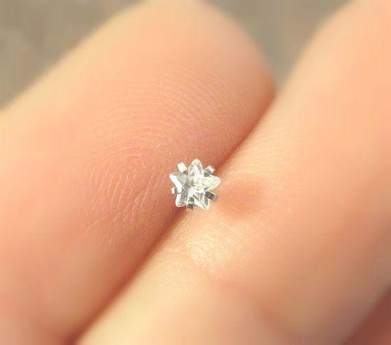 Tiny Crystal Star Nose Stud or Screw Nose Bone Post