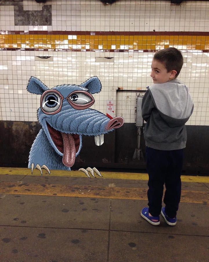 Artist  Ben Rubin Draws Fantastical Creatures Interacting with Commuters on NYC Subway - My Modern Met