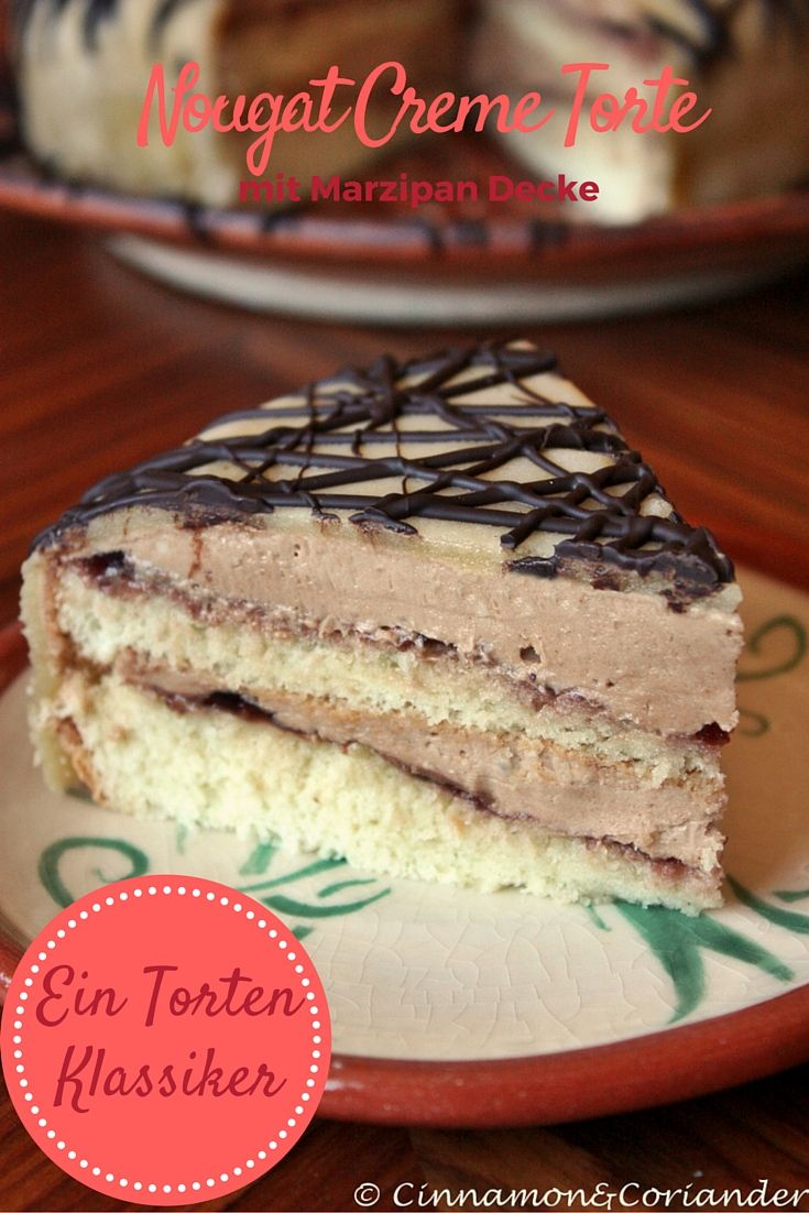 Diese festliche Nougat Creme Torte mit Marzipan wurde von meiner Familie zur besten Torte der Welt erklärt! Ein Tortentraum für Nussliebhaber!