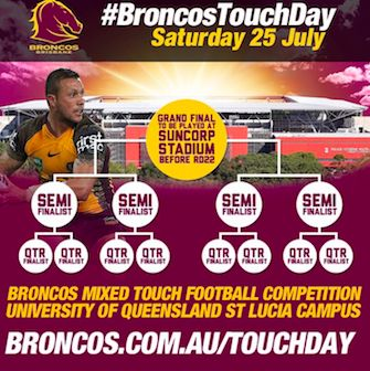 Broncos NRL Touch Day for fans