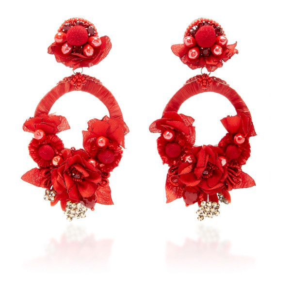 Ranjana Khan     Red Large Floral Drop Earrings (€355) ❤ liked on Polyvore featuring jewelry, earrings, red, floral earrings, statement drop earrings, floral jewelry, red earrings and ranjana khan