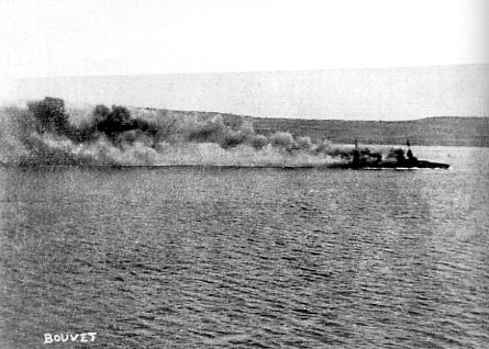 Bouvet sinking on March 18, 1915. Her position compared with the shoreline shows how fast it happened. The loss of this ship was not a result of hitting the mine – as almost all historians still believe – but of the Turkish artillery fire. (L'Illustration) http://en.wikipedia.org/wiki/French_battleship_Bouvet