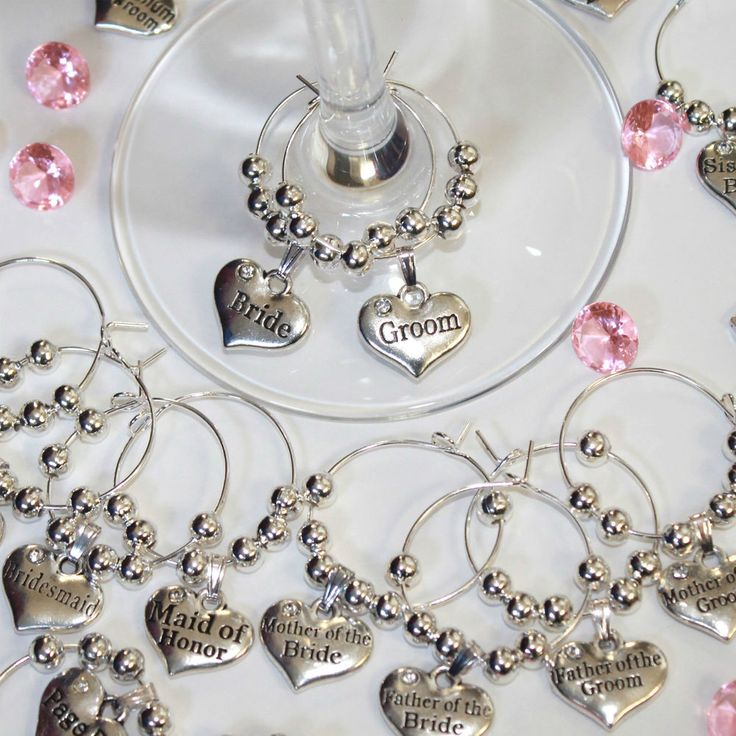 Personalised Wedding Table Decorations - Champagne  Wine Glass Charms Favours