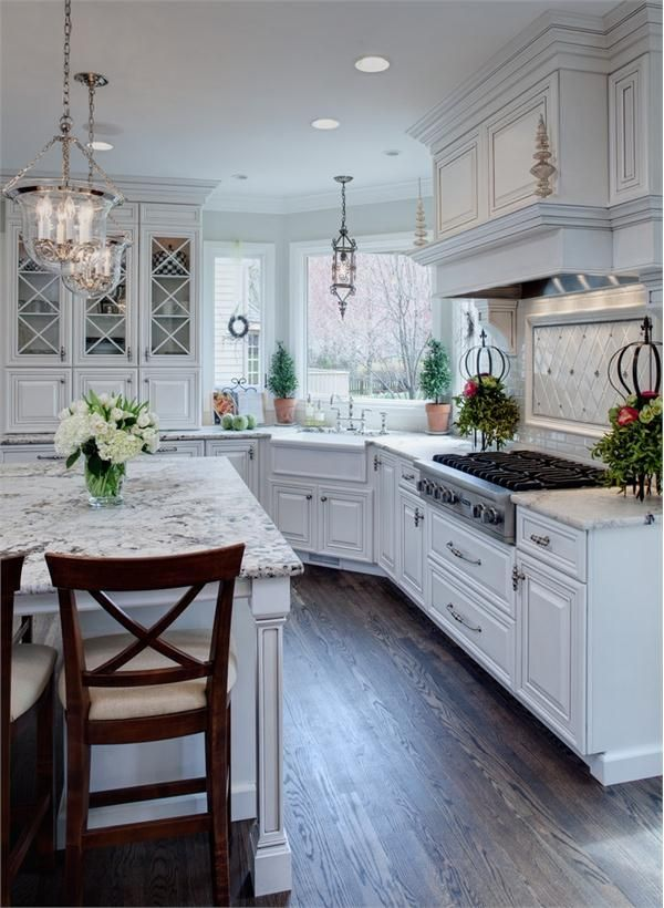 Transitional (Eclectic) Kitchen by Drury Design for bay house, love the window over the kitchen and the flooring!