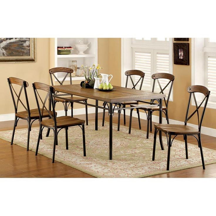 Furniture Of America Stilson Industrial 7 Piece Dining Table Set