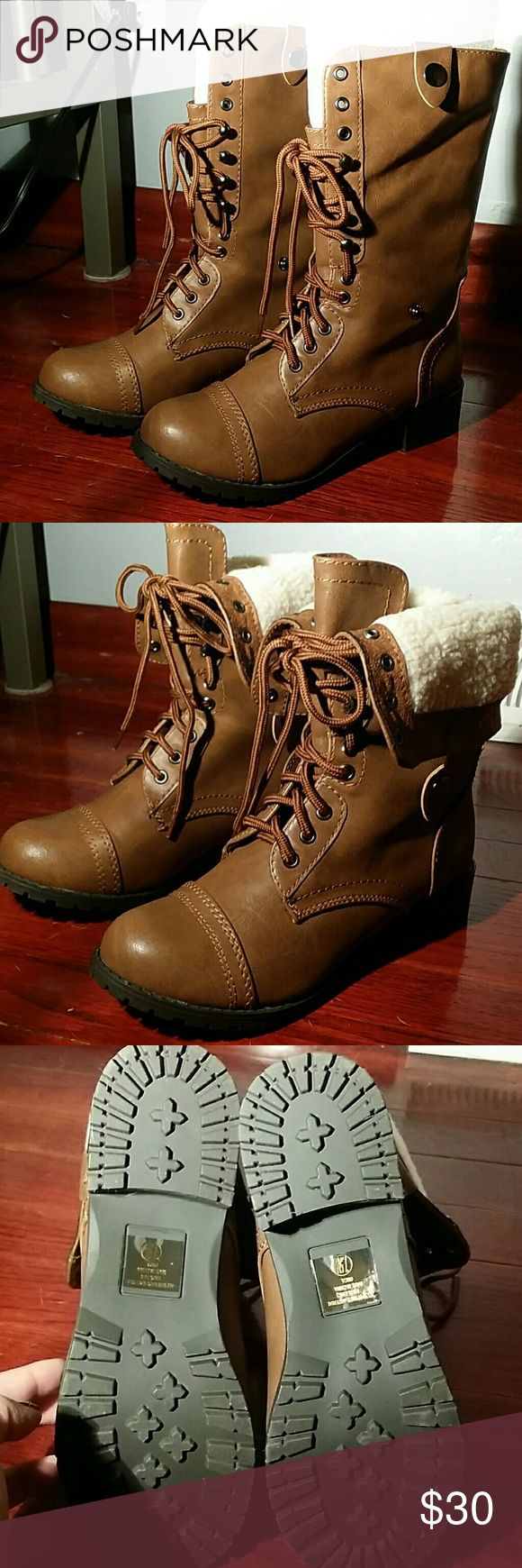 NWT Tan women's lace up boots NWT Tan boots that can be worn laced up or folded down Soda Shoes Combat & Moto Boots