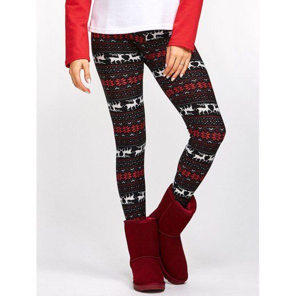 Fawn Snowflake Christmas Leggings