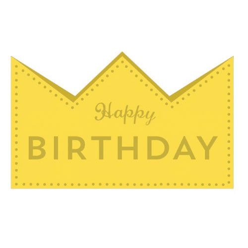 Greeting Life Birthday Crown Card Yellow