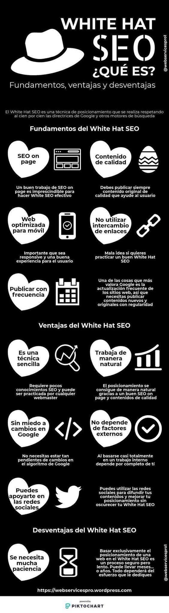 White Hat SEO ¿Qué es? Fundamentos, ventajas y desventajas. El White Hat SEO es una técnica de posicionamiento web que se realiza respetando al cien por cien las directrices de Google y otros motores de  búsqueda. #SEO #infografias