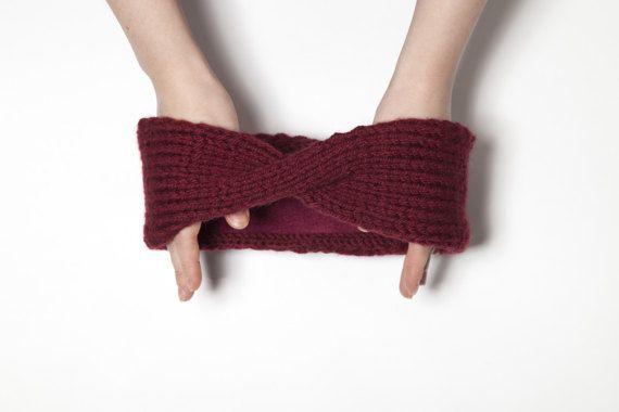 Vinous Turban Ear Warmer Headband Red Boho Knit by OneHatStore