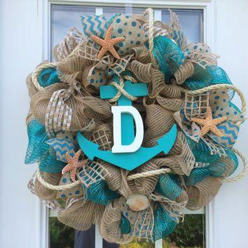 deco mesh beach wreaths   deco mesh wreath,burlap nautical wreath, beach wreath,front door beach ...