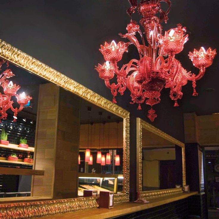 #Artistic #glass #chandelier. #Classic #lightwork, red color body with #rings. #Spain