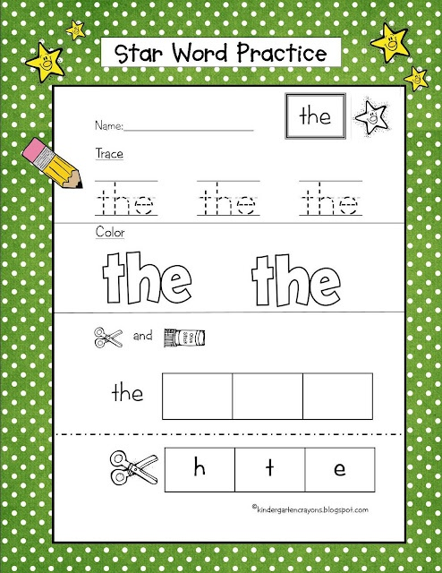 Star Word Practice: procedure for practicing sight words in many ways - trace, color and cut and paste