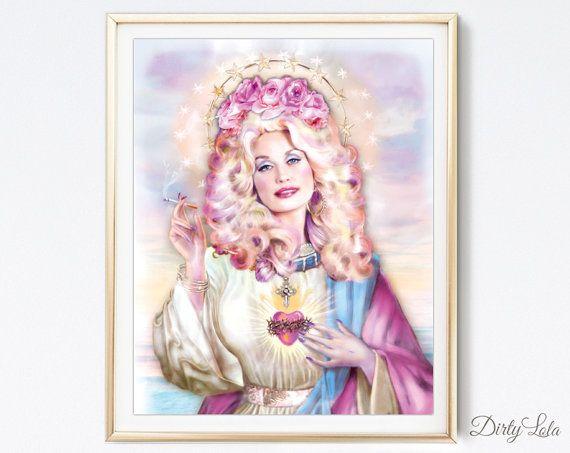 Saint Dolly Parody - Art Print - Illustration - Portrait - Painting- Portrait - Home Decor - Pop Art - Kitsch - Pastel - Ombre