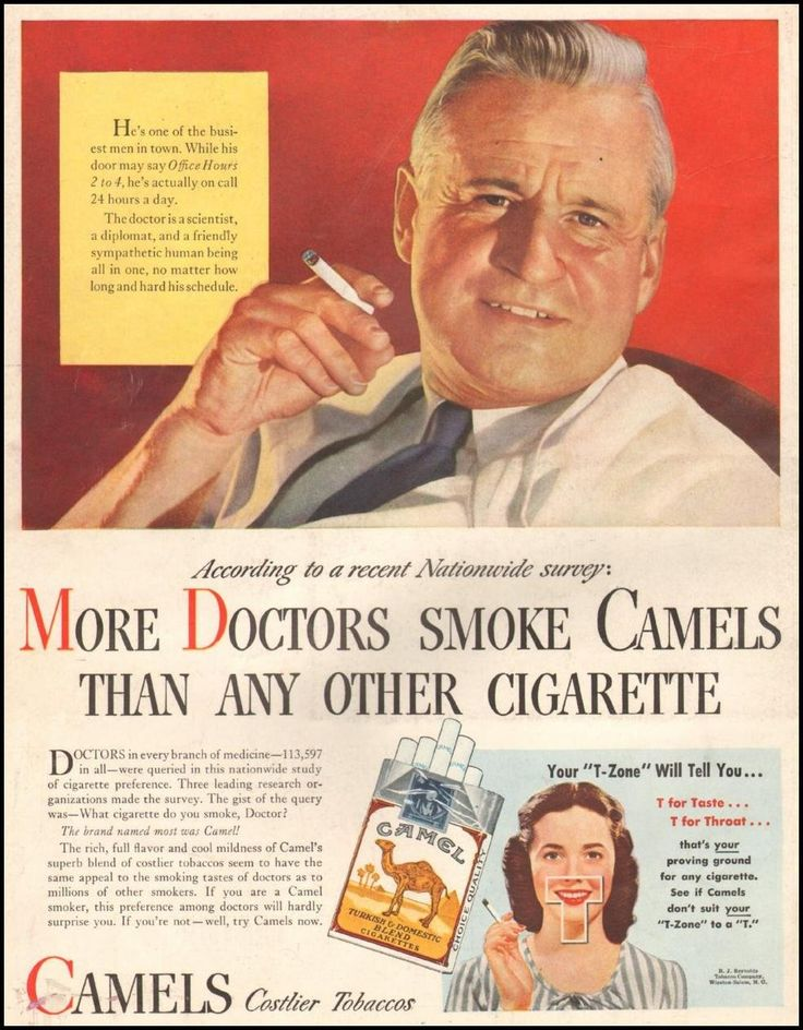 This ad states that doctors, the people you can trust because they are professional, even doctors  smoke cigarettes. This makes people buy them because if a doctor tells you too do something, you do it.