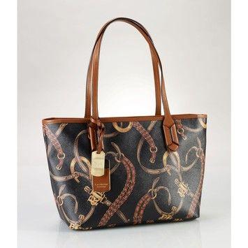 Lauren By Ralph Lauren Caldwell Belting Black/Brown/Gold Tote Bag $124