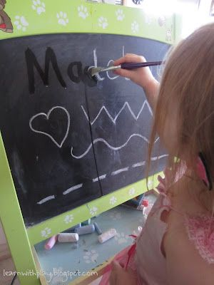 Tracing & Writing Practice with Water on the Chalkboard. Via Learn with Play @ home