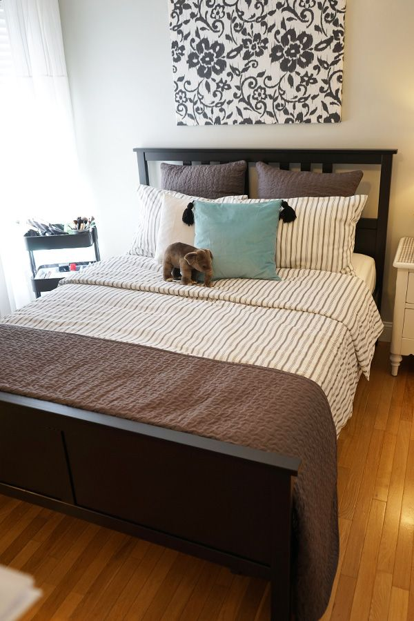 HEMNES Bed frame blackbrown, Lönset Hemnes bed, Ikea