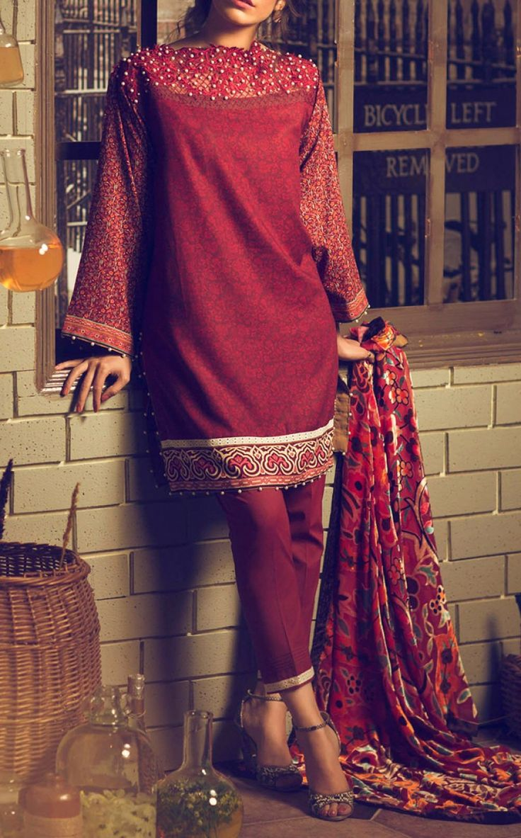 Maroon Embroidered Viscose Dress Contact: (702) 751-3523  Email: info@pakrobe.com  Skype: PakRobe