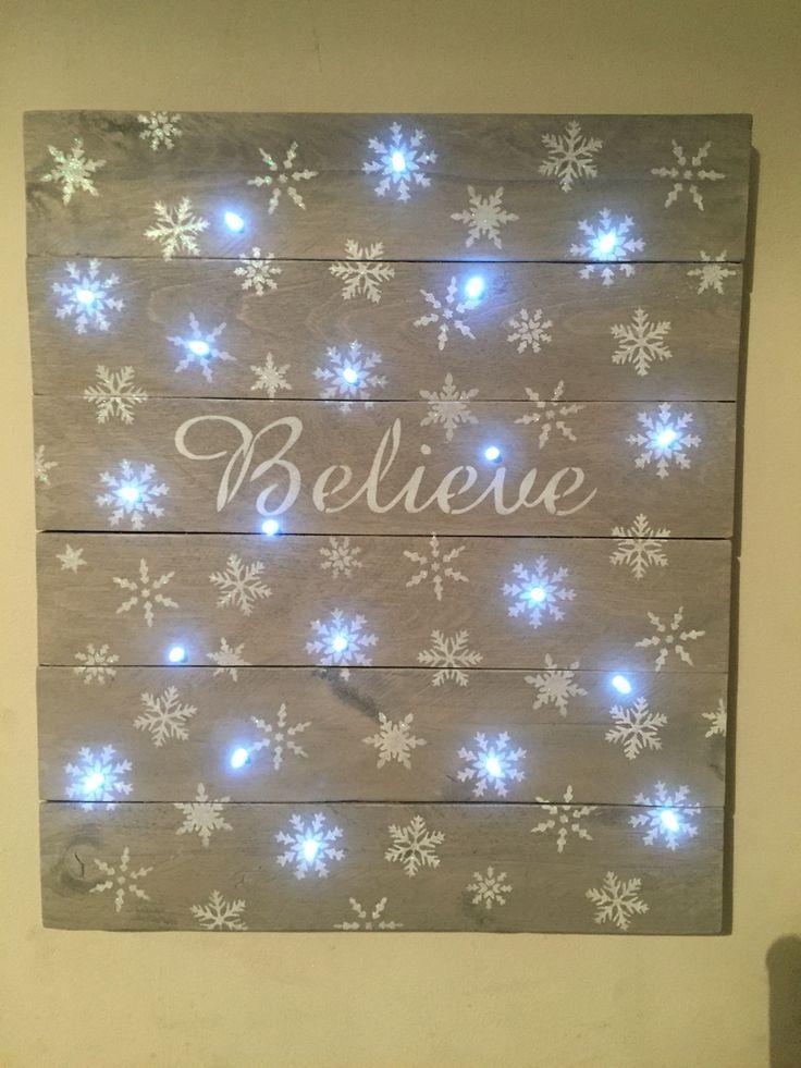 """Believe"" Light Up Pallet Wood Sign"