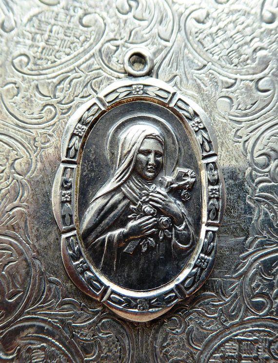 Rare STERLING SILVER Saint Therese De Lisieux, Sancta Theresa Teresia A Jesu Infante, Catholic Medal Patron Saint Of Florists Flower Growers