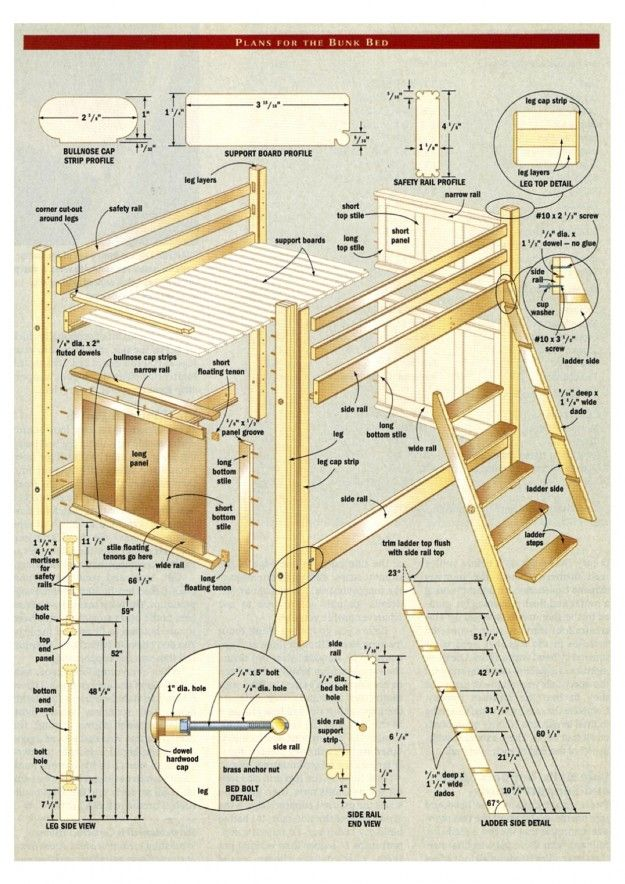 17 best ideas about bunk bed plans on pinterest triple for Hanging bed construction