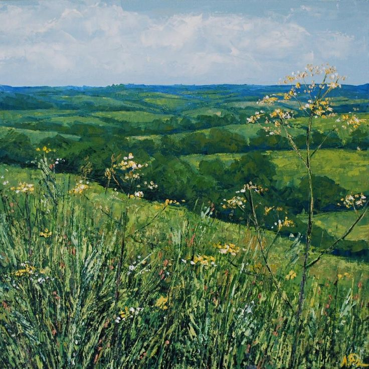 View through Wild Flowers, Anna Perlin. Oil on canvas. Cow Parsley, fields, green, landscape, painting