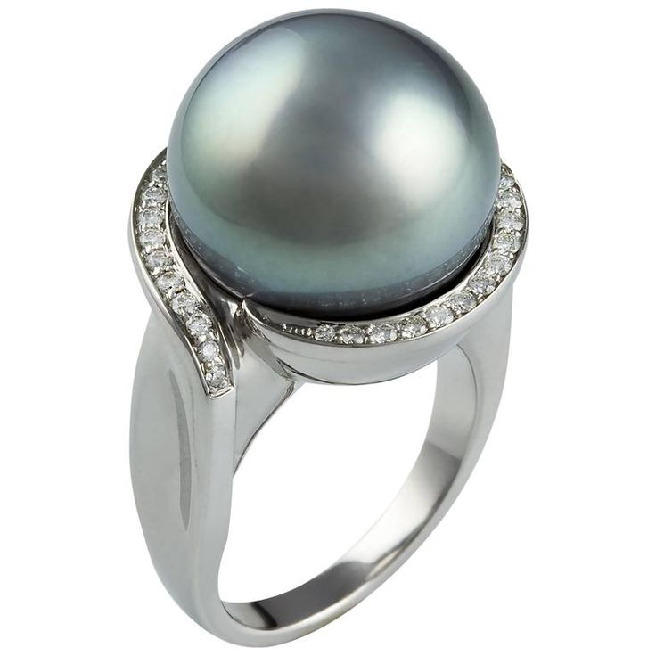 Lust Tahitian South Sea Pearl Yellow Gold Diamond Ring | From a unique collection of vintage fashion rings at https://www.1stdibs.com/jewelry/rings/fashion-rings/