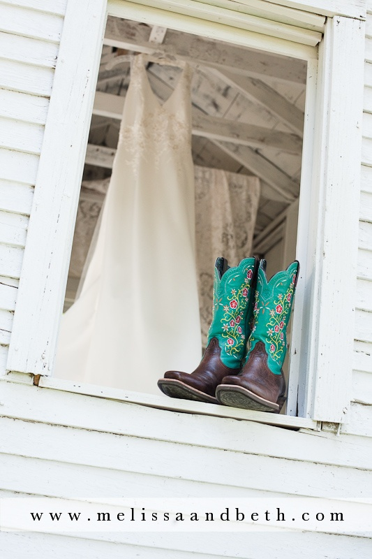 adorable cowboy boots with wedding dress for country/farm wedding!