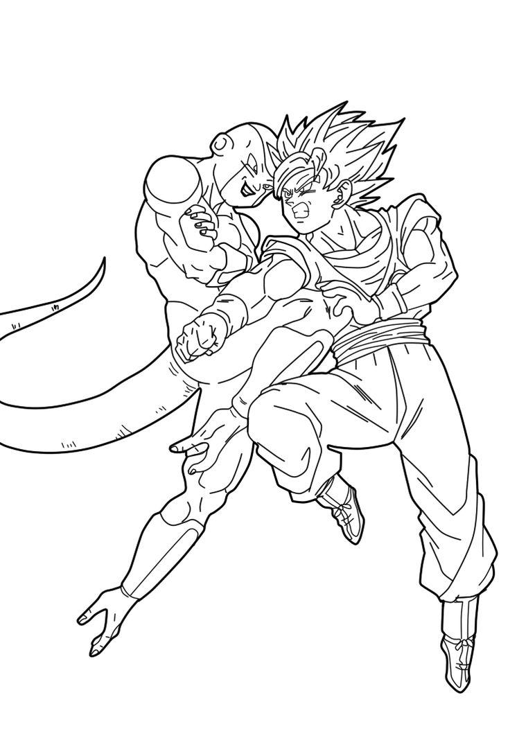 Dragon Ball Z Goku Vs Freezer Lineart by SaoDVD on