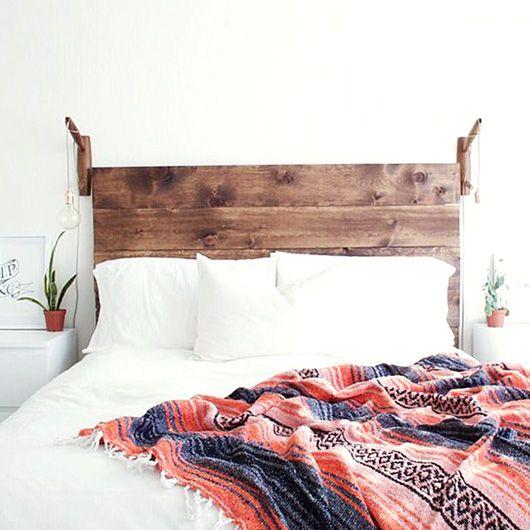 rustic wood headboard in boho bedroom. / sfgirlbybay