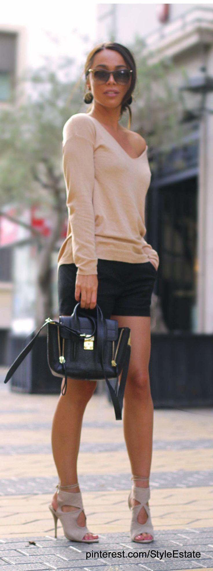 Bershka nude sweater and black Zara shorts + Aquazzura heels