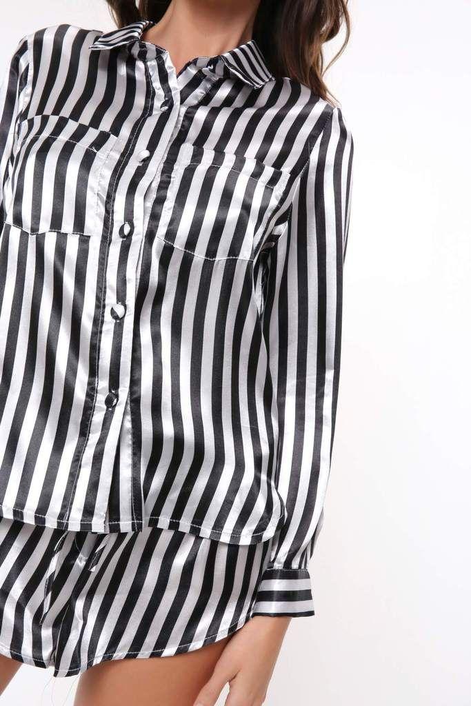 Black White Striped Shirt And Short Pyjama Set  5373d23a7