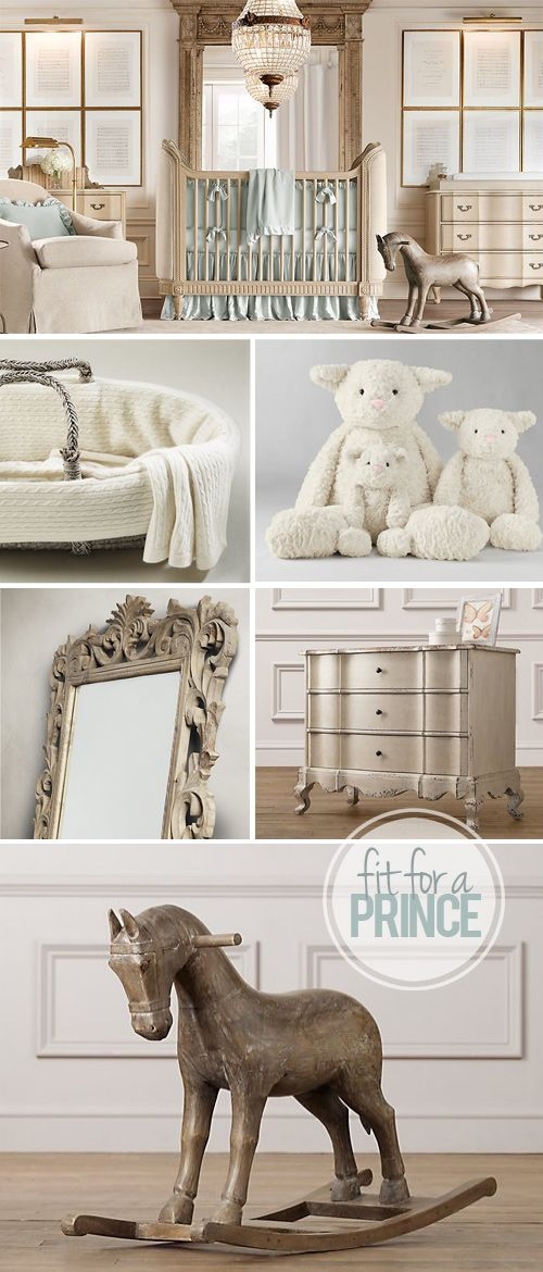 Love all this, but a little out of reach. Antique crib & dresser, crown molding, framed sheet music. Kate Middleton Royal Baby Boy Nursery